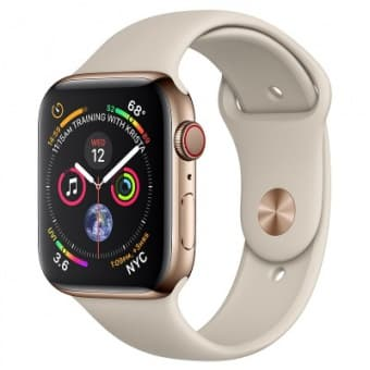 Apple Watch Series 4 (GPS+Cellular) 40 mm Gold Stainless Steel Case/Stone Sport Band (Серый камень)